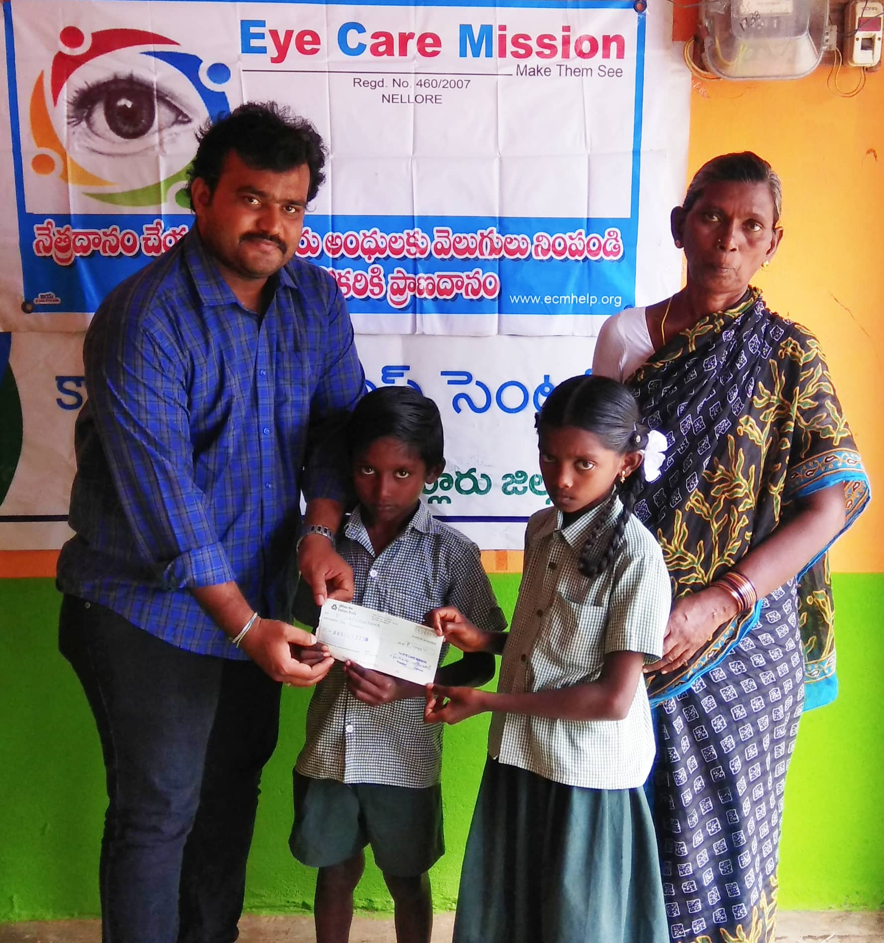 Education Support From ECM as a Part of It's Yearly Contribution for Two Students in Jaladanki